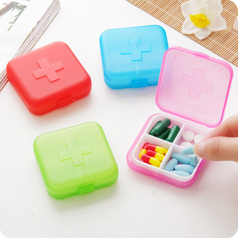 Four Grid Mini Medicine Kit Portable Portable Creative 4 grid Small kit remind Kit Drug storage box D108(China (Mainland))
