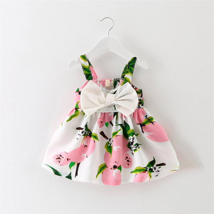 2016 New Dress Wedding Baby Baby Fashion Sling Bow Tie Dress Floral Dresses Baby Yellow Pink(China (Mainland))