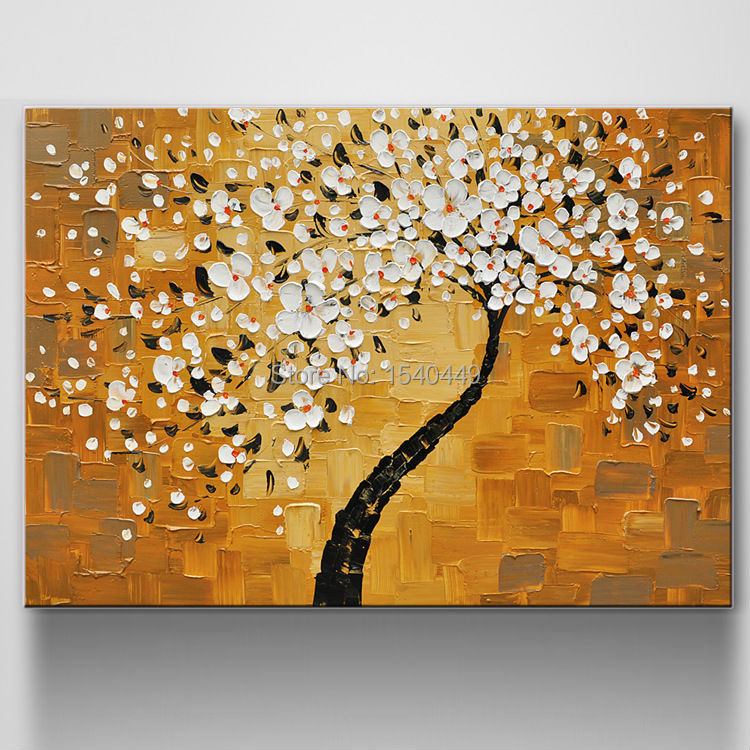 store product Handpainted Modern Knife Oil Canvas Painting Abstract Art Paintings On White Flower Tree Painted