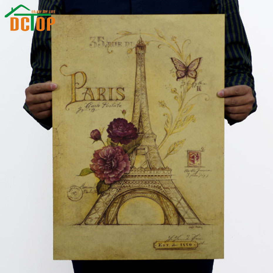 DCTOP Romantic Paris Retro Poster Rose Eiffel Tower Wall Stickers Home Decor Kraft Paper Removable Wall Decals(China (Mainland))