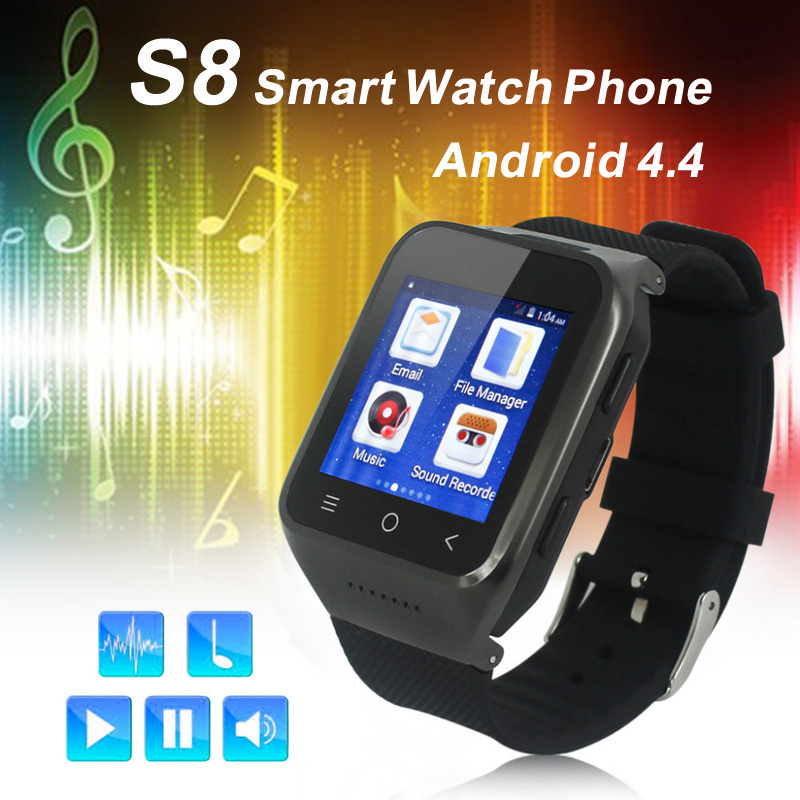 Android 4.4 Dual Core Smart Watch ZGPAX S8 Wristwatch Mobile Phones Smartwatch Supports GSM 3G WCDMA Bluetooth 4.0 Wifi Camera(China (Mainland))