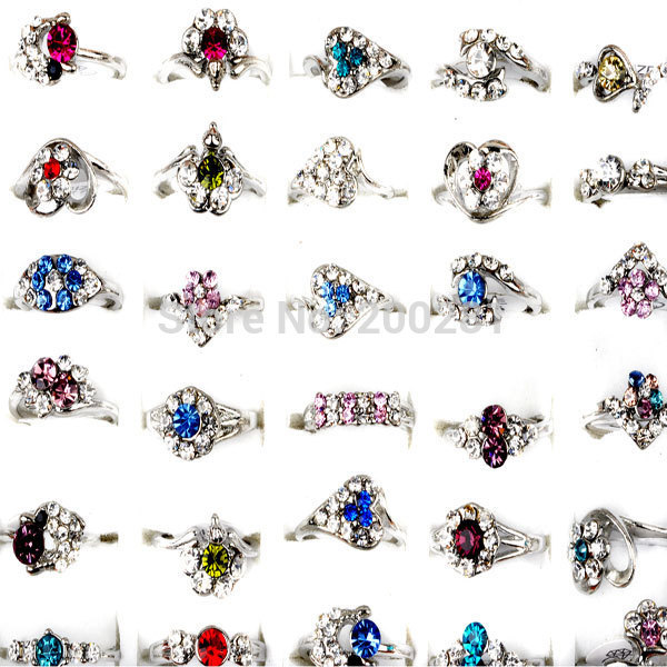 Wholesale 10Pcs/lot Colorful Crystal Flower Ring Jewelry for Women Austrian Crystal Rhinestone Silver Wedding Rings Mix Lot(China (Mainland))