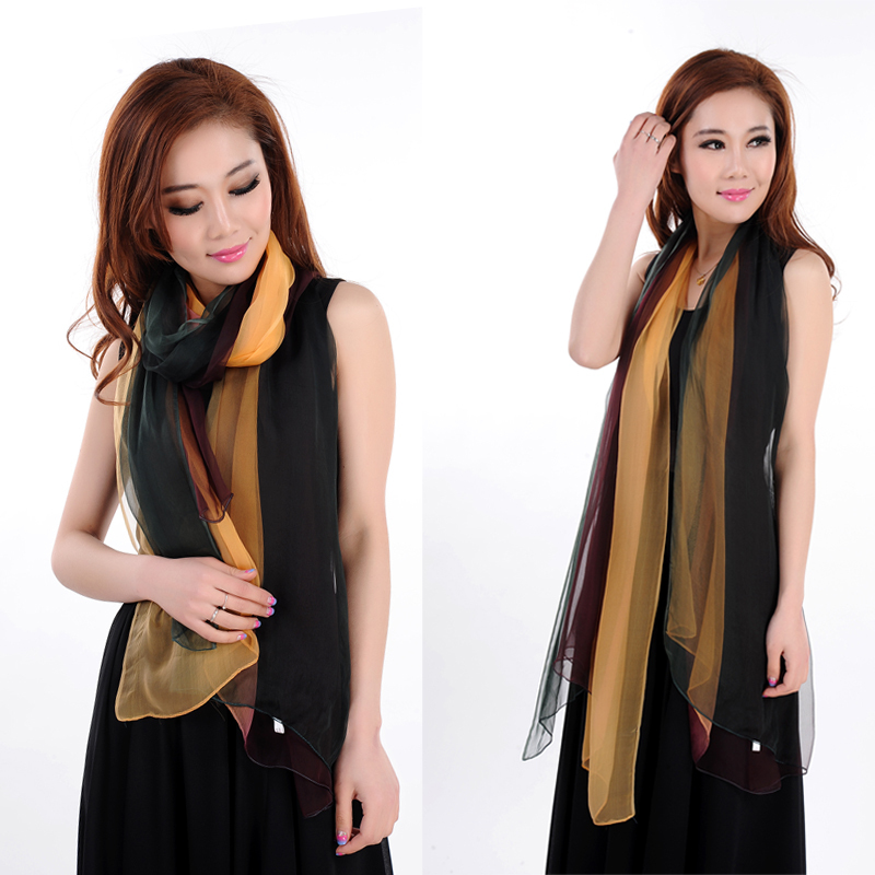 LING/Casual Trendy High-Quality Goods 100% Mulberry Silk Ladies Scarves,Satin Foulard Islamic Hijab Wrap,Female Bufandas#KQ32016(China (Mainland))