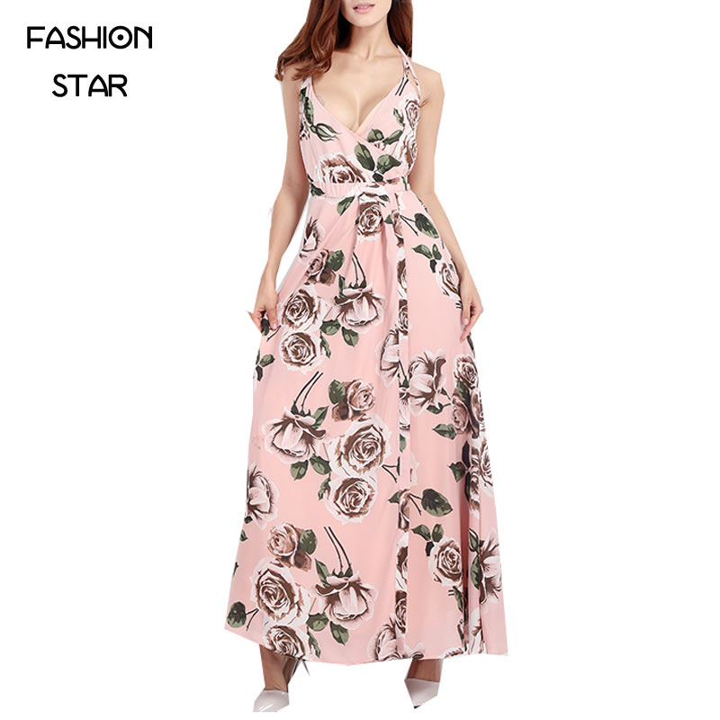 Hot Sale Pink Floral Printing Dresses Bohemian Summer Style Dresses Women New Arrival 2016 Ladies V Neck Sleeveless Dress(China (Mainland))