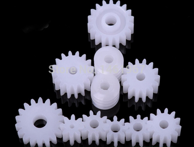 2 packs of 11 kinds Spindle Small Plastic Gears including 2 Worm Gear Set RC Gizmo TOY Required Materials(China (Mainland))