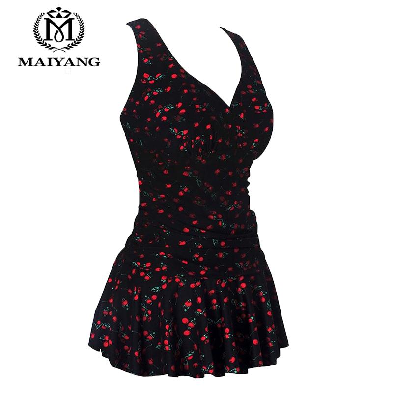 Black Plus-Size One Piece Swimwear Women Monokini Swimsuit Flower Printing Shaping Body Bathing Swim Suit Dresses Bodysuit 5119(China (Mainland))