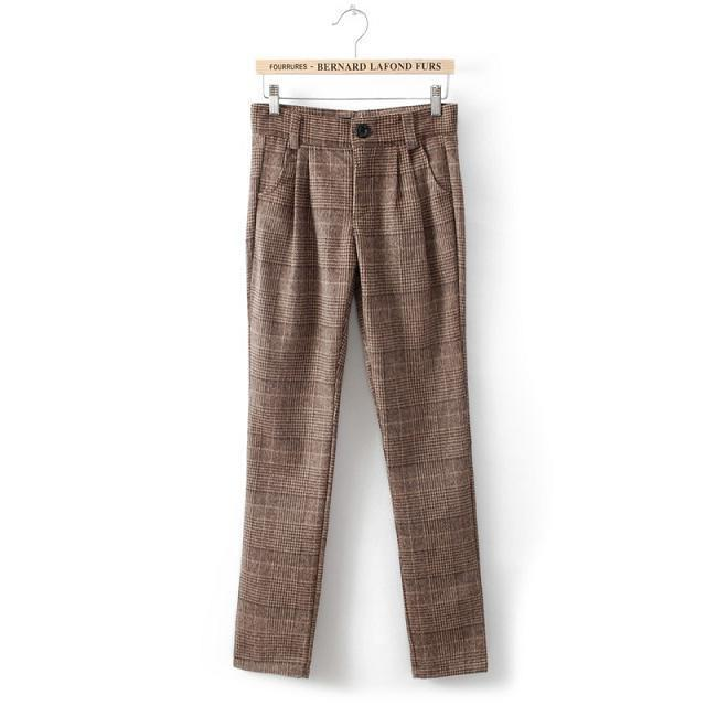 2014 autumn and winter new fashion England style women plaid wool pants, high quality ladies casual trousers, boots pantsОдежда и ак�е��уары<br><br><br>Aliexpress