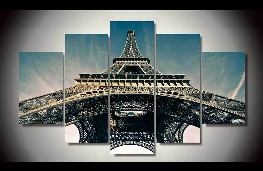 Framed Printed Paris Eiffel Tower 5ps Picture Painting Wall Art Children'S Room Decor Poster Canvas Free Shipping(China (Mainland))