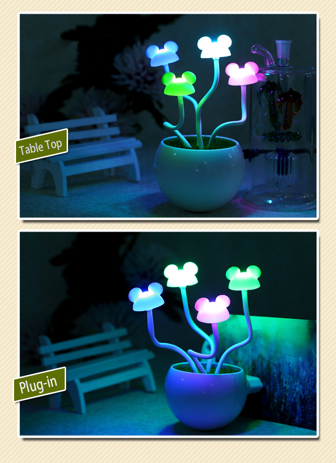 Good Gift  Mickey mouse LED Night Light controlled by sound and lighht  4  Colors <br><br>Aliexpress