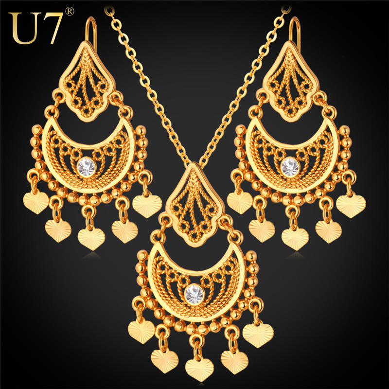 Indian Jewelry Sets Vintage 18K Gold/Platinum Plated Rhinestone Heart Pendant Vintage Tassels Necklace Earrings Set Party S624(China (Mainland))