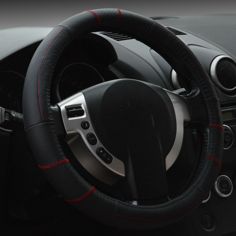 New Leather Automobile Steering Wheel Cover Protective Sleeve For Automobile Comfortable And Beautiful Car Steering Wheel Cover(China (Mainland))