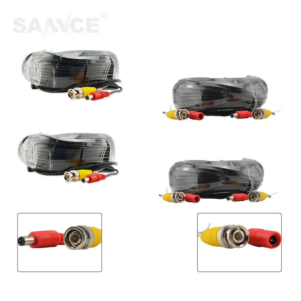SANNCE 4PCS A Lot 30M 100ft CCTV Cable BNC + DC Plug Video Power Cable for Wire Camera and DVR Surveillance System Accessories(China (Mainland))