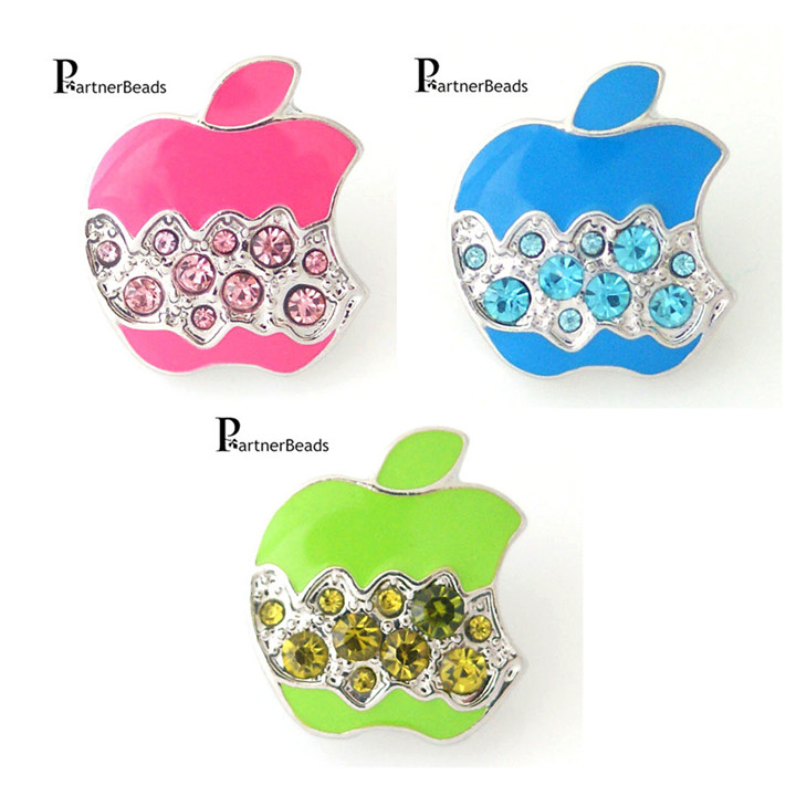 Partnerbeads Snap Interchangeable Ginger Snaps Jewelry Accessory Custom Crystal Apple Snap Button Free Shipping KB8165-1(China (Mainland))