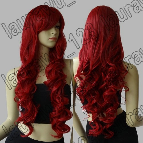 Japanese Fashion Cosplay Anime Wigs ,Red Lace Front Wigs For Women,80 cm Long Role Play Wigs JF055(China (Mainland))
