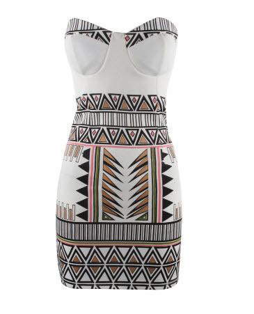 Free shoping NEW ARRIVALS Fashion geometry strapless Slim Dress.Sexy print mini dress women clothing Party dresses(China (Mainland))