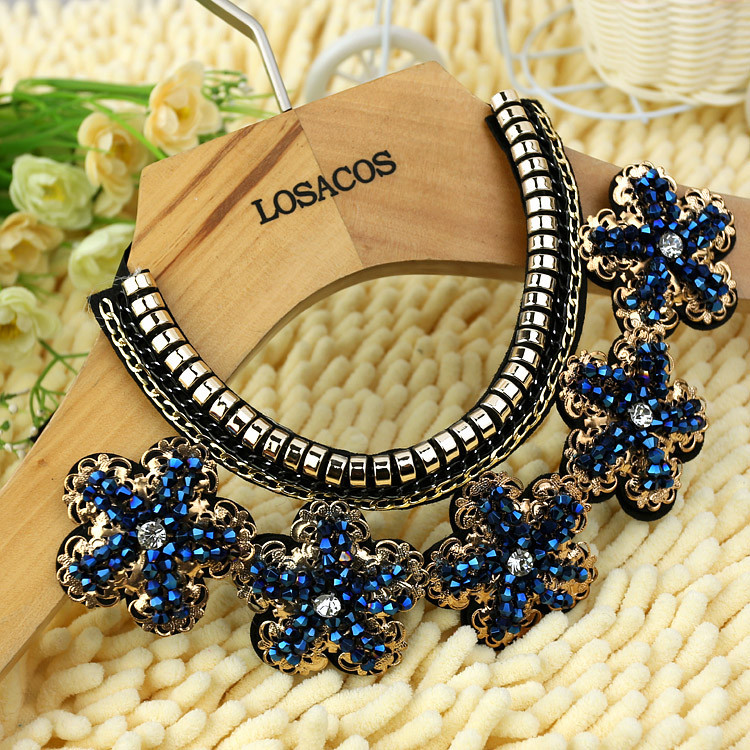 70cm fashion women crystal blue flowers  beads  gold chain Ribbon  Fake collar Choker Necklaces clothing accessories(China (Mainland))