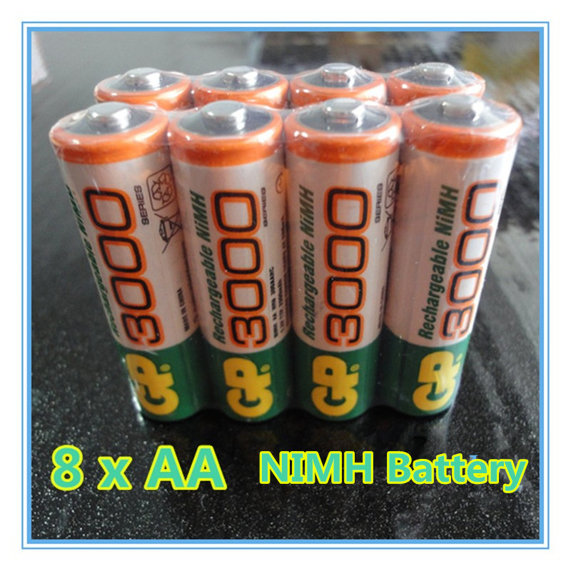 8 PCS/lot Wholesale GP AA 1.2 V Ni - 3000 MH Rechargeable batteries' toys(China (Mainland))