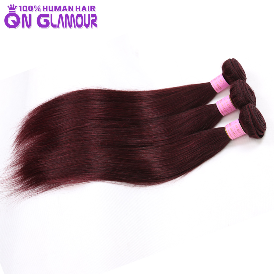 99J 7a grade real human hair straight 3 bundles unprocessed malaysia virgin hair extensions milky way red straight hair weave(China (Mainland))