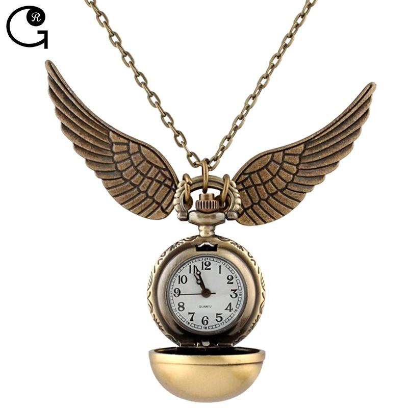 Здесь можно купить  695o DHL Free Shipping Low Price Harry Potter Wing Pendant  Alloy Necklace Ball Clock Cartoon Quartz Pocket Watch Gift For Kids  Ювелирные изделия и часы