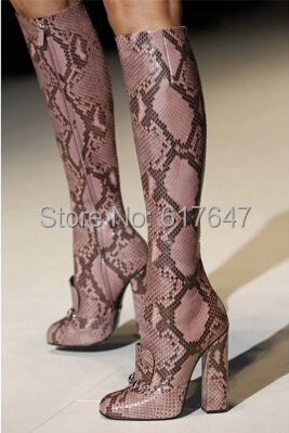 Design Women Fashion Round Toe Lillian Horsebit Snake Leather Knee High Thick Heel Boots Brand Show Shoes - Western Style Boutique store