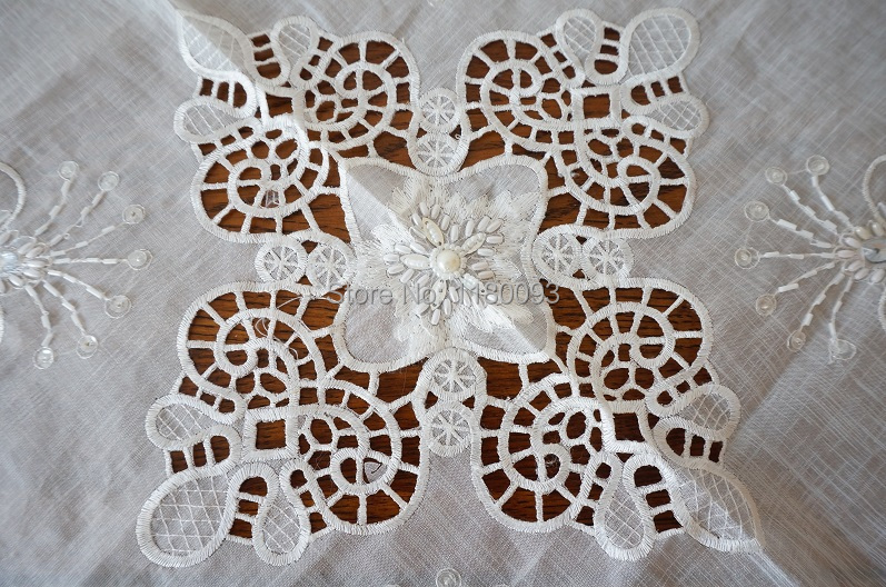 2 size gothic vintage handmade lace doily embroider kit bead solder white 86 100 rectangle square couch cover table runner flag(China (Mainland))