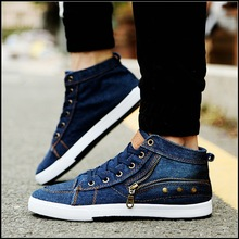 side zip fashion denim canvas shoes for men 2016 spring new flat male casual shoes with revit zapatos casuales masculinos(China (Mainland))