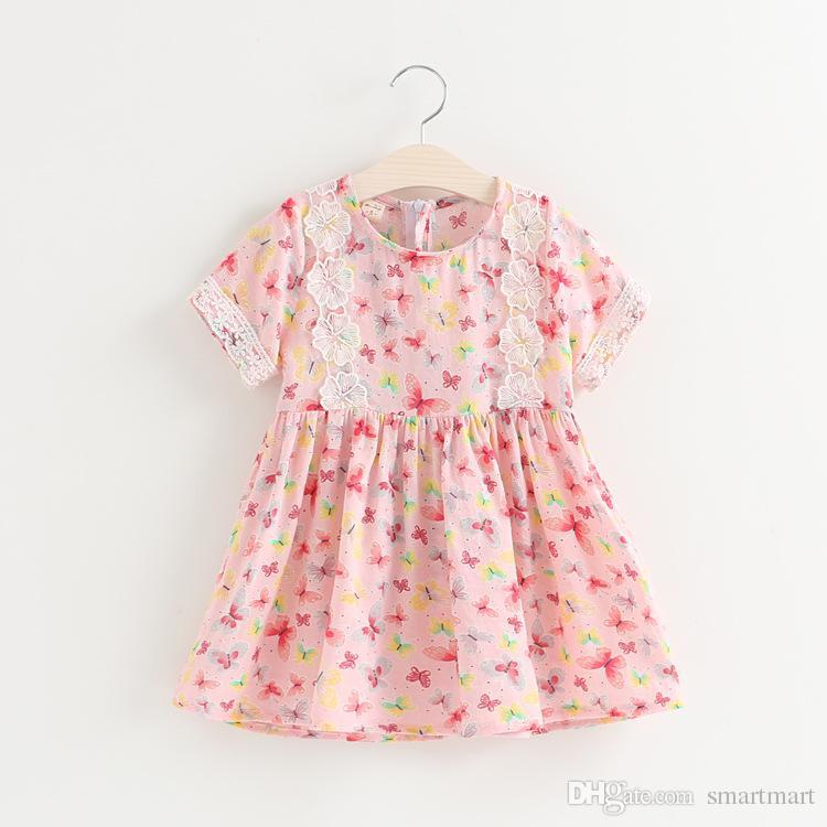 2016 Summer Dress New Fashion Girls Print Butterfly Dress Short Sleeves Sweet Lovely Girls 100% Cotton Dress<br><br>Aliexpress