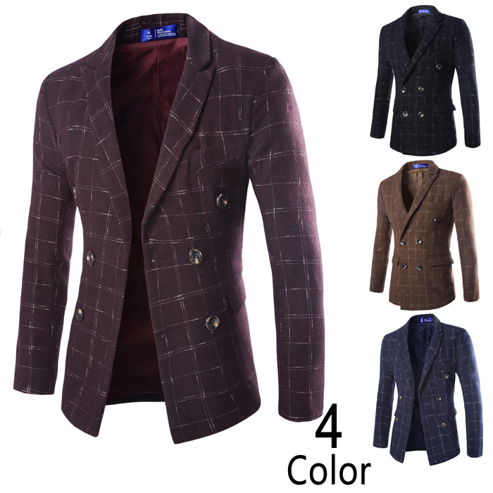 New winter men s fashion high grade wool double breasted font b tartan b font suit
