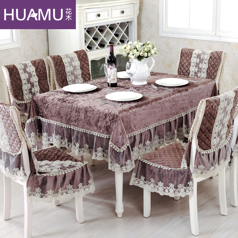 grade fashion top gold velvet dining table cloth chair