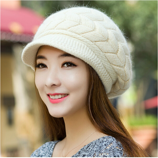 Гаджет  Free Shipping 2014 New Women Hat Winter Beanies Knitted Hats For Woman Rabbit Fur Cap Autumn And Winter Ladies Fashion Skullies None Одежда и аксессуары