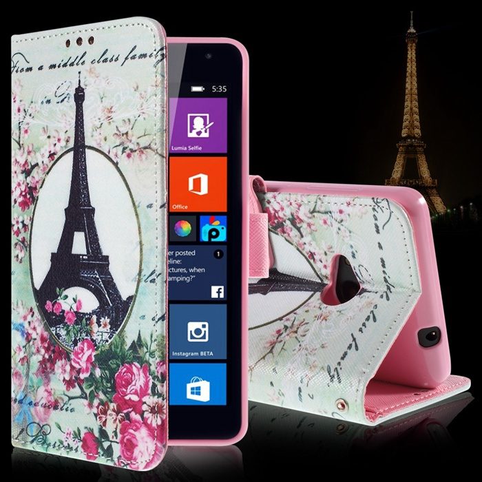 Luxury Bag For Microsoft Lumia 535 Cartoon Pattern Card Holder Leather Wallet Flip Cover For Nokia N 535 Lumia Inner TPU Case(China (Mainland))