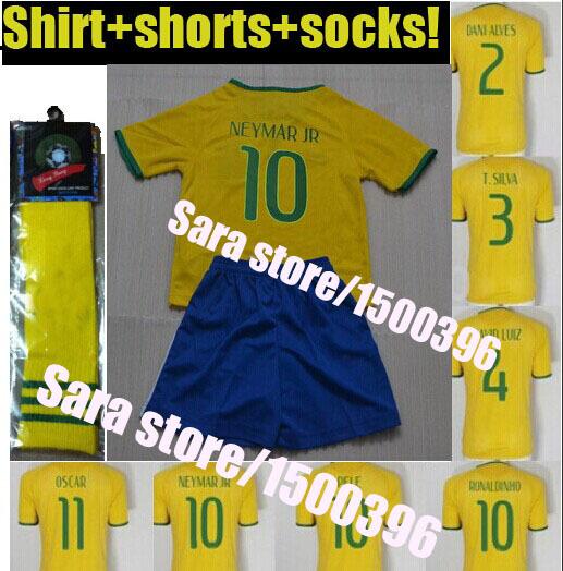 Children camisetas Brazil soccer jersey 2014,jersey Neymar brasil jersey kids football shirt+pants+socks(China (Mainland))