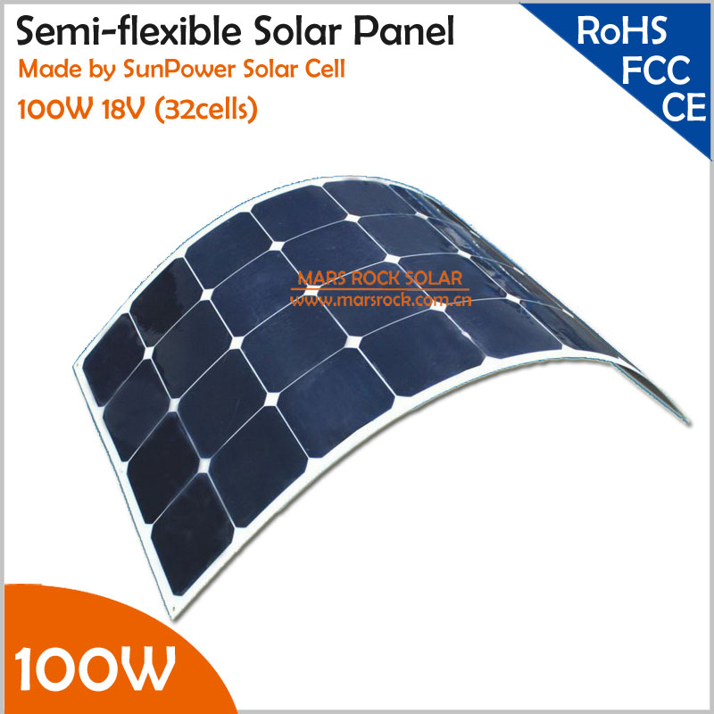 100W 18V Mono Semi Flexible Solar Panel with Front Junction Box 22% High Efficiency SunPower Solar Cell PV moudle for 12V System(China (Mainland))