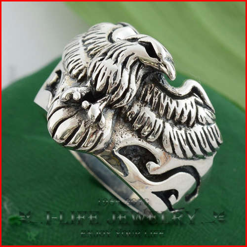 2014 Fashion 925 Sterling Silver Europe America Retro Eagle Inexpensive Wedding Rings Sets Without Stone for Boy(China (Mainland))
