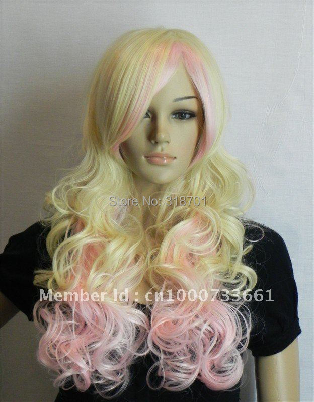Exquisite Long Curly multi-color  Womens Wig Blonde Pink Mix<br><br>Aliexpress