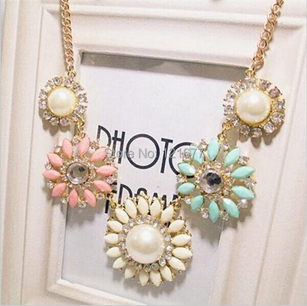 2015 New Fashion Pearl Flower Chunky Statement Collar Crystal Rhinestone Necklaces Pendants Women Jewelry Gifts Bijoux
