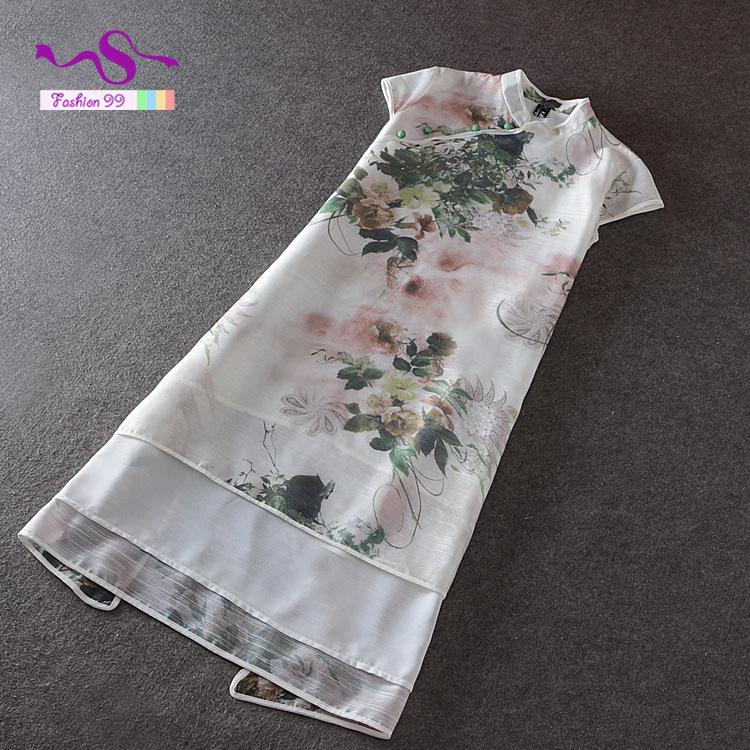 Vintage ink printing side split women robes short sleeve Chinese style mandarin collar silk summer dress plus size LY197(China (Mainland))