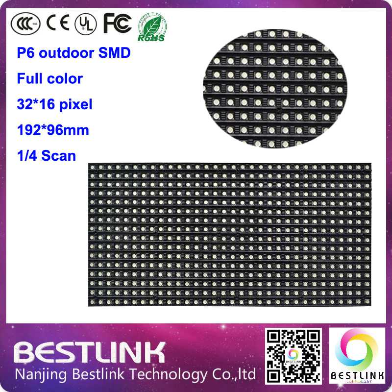 P6 SMD ao ar livre RGB 192 * 96 mm LED módulo 32 * 16 pixel RGB painel de LED P6 ao ar livre parede de vídeo de tela diy de táxi(China (Mainland))