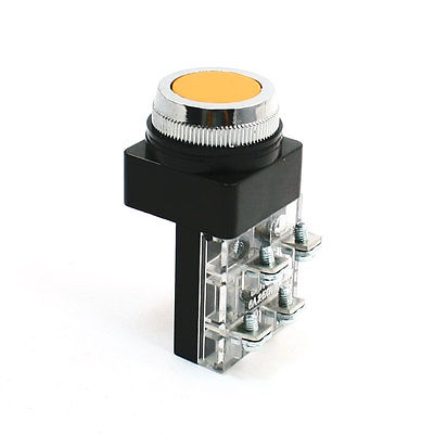 Industry NO NC Momentary Action Yellow Push Button Switch AC 250V 6A DPST(China (Mainland))