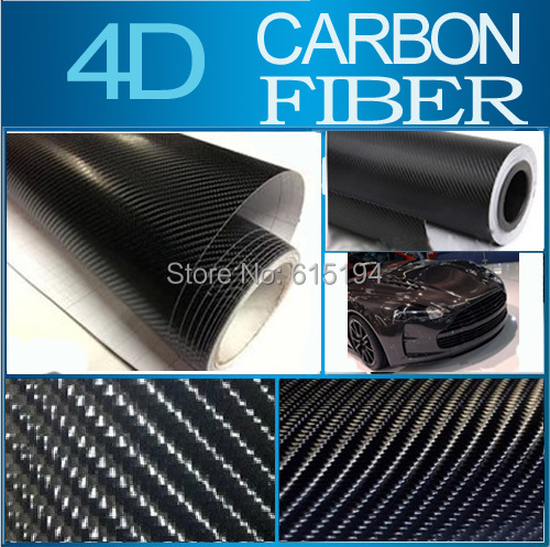 "Black 4D Carbon Fiber Sticker 10x152CM 4""x60"" 4D Colored Glossy Carbon Fiber Vinyl Film Auto Wrapping Vinyl Wrap Foil #B111C(China (Mainland))"