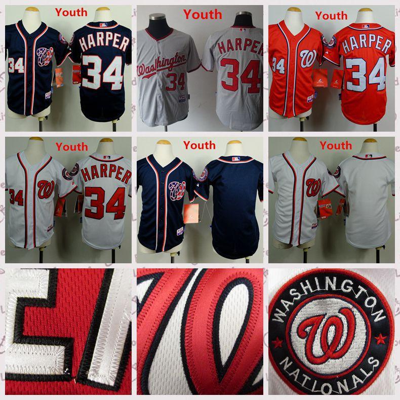 New boys Bryce Harper baseball youth Jersey 100% Polyester high range 34 Bryce Harper Jersey Child Gray Best Quality(China (Mainland))