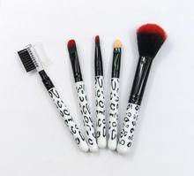 NEW 5Pcs Makeup Blush Eyeshadow Leopard Brushes Lipstic Cosmetic Brushe Set Tool