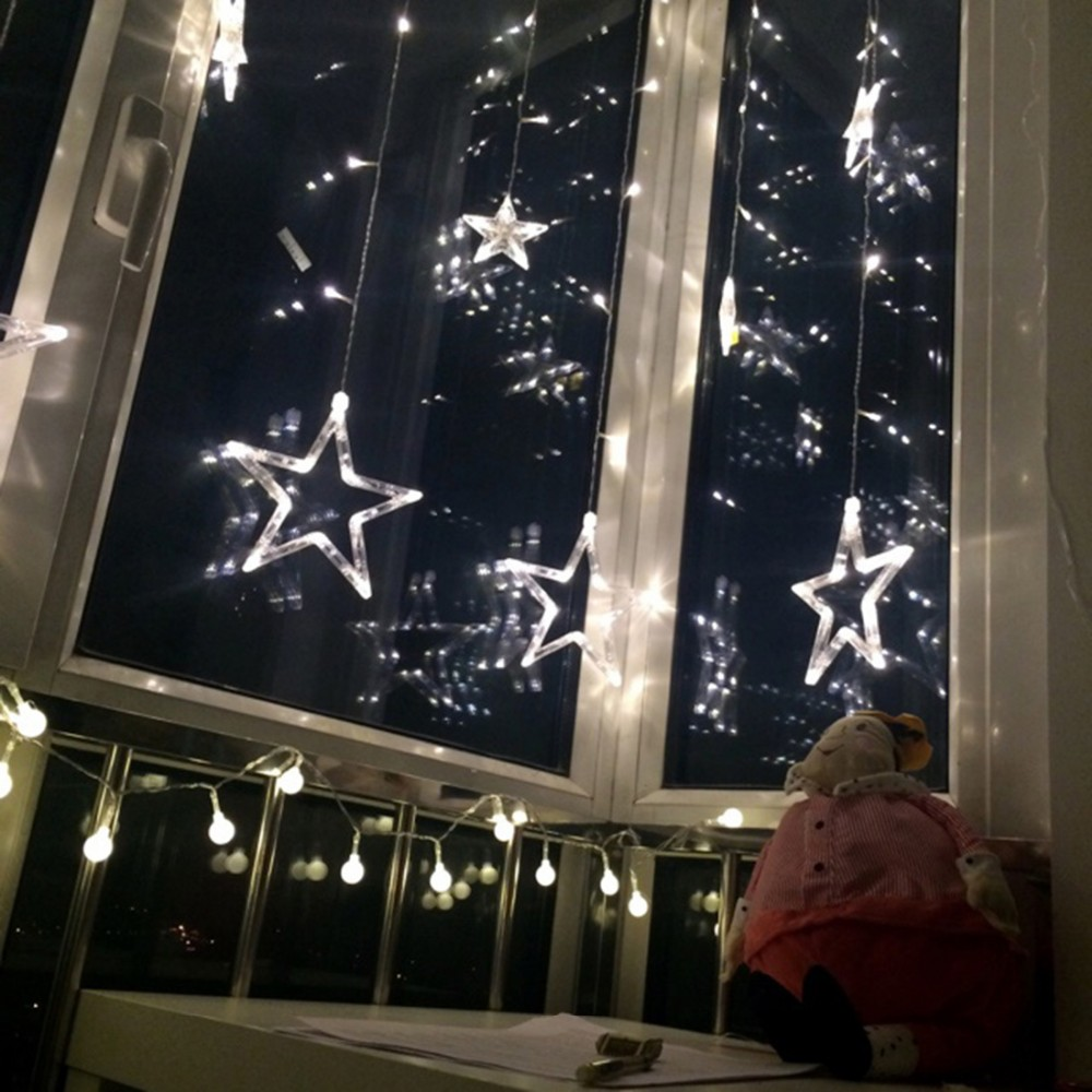 Christmas window lights decorations - Fivepointed Star Multicolor Led Curtain Fairy String Lights For Window Light For Christmas Party Festival Decoration