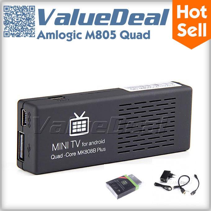 New MK808 MK808B Plus Amlogic M805 Quad Core Android 4.4 Mini PC Smart Google TV Stick Dongle 1GB 8GB WIFI H.265 DLNA Miracast