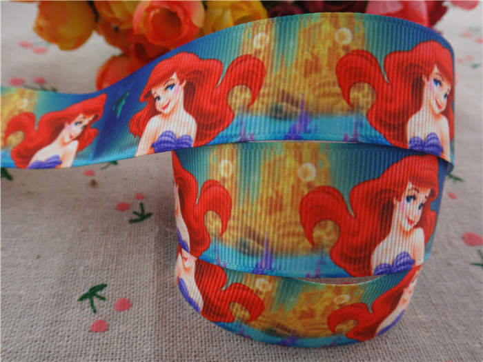 "new arrival 1"" (25mm) princess Ariel printed grosgrain ribbon cartoon ribbons hair accessories 10 yards wq2730(China (Mainland))"