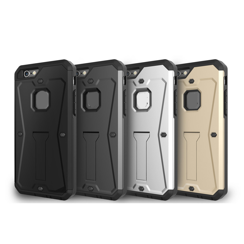 Shockproof Tank Heavy Armour Hard PC+Soft TPU Case+Touch Screen Protector For Iphone 6 6G / Plus 5.5 3 in 1 Hybrid Stand 100PCS(China (Mainland))