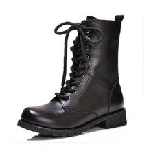 Big Size 34~43 Europe Women Genuine Leather Mid-Calf Riding Shoes,100% Hand-made Large Size Women Equestrain Adhesive Boots(China (Mainland))