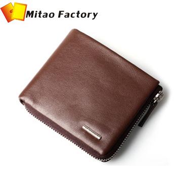 Today's Deal 50% Discount Sale Brand Zipper Wallets Men Genuine Soft Cow Leather Organizer Wallets 7Card Holder Traval Bilfold