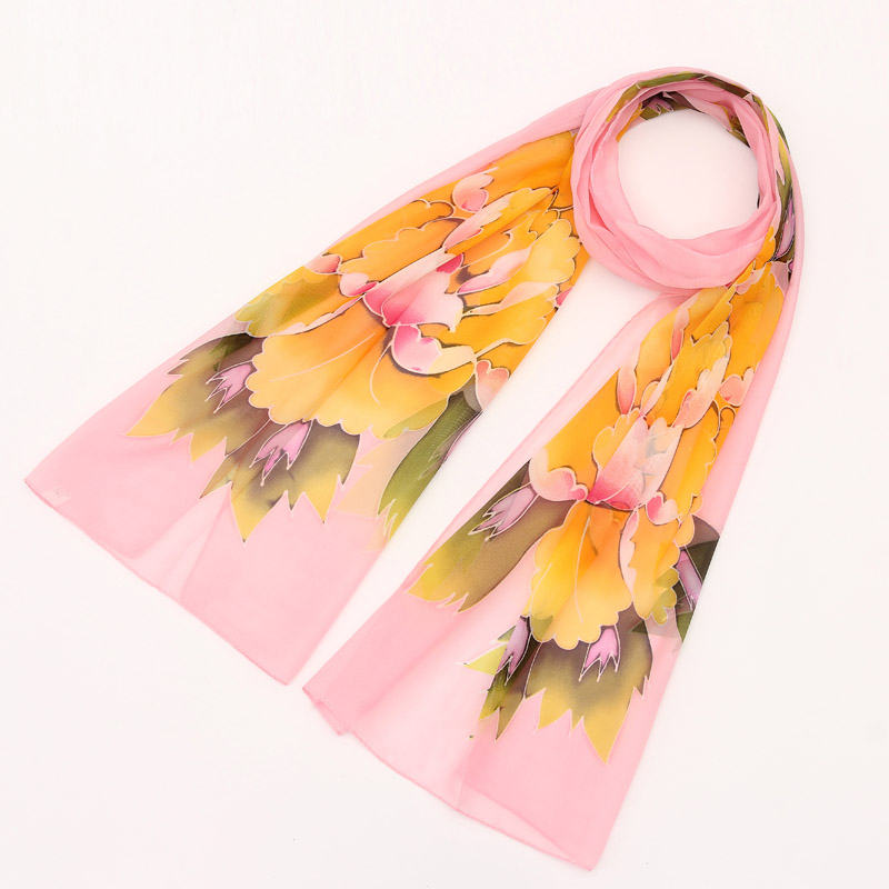Brand 2016 Casual Woman Flower Designer Scarf Fancy Girl Satin Chffon Cape Stole Apparel Bandana Soft Noble Poncho Scarves(China (Mainland))