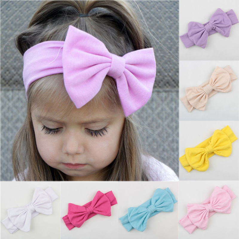 Lovely Baby Girls Cotton Headband Solid Hair Bows Headbands For Kids 2015 New Arrival Infant Toddlers Cotton Hair Accessories(China (Mainland))
